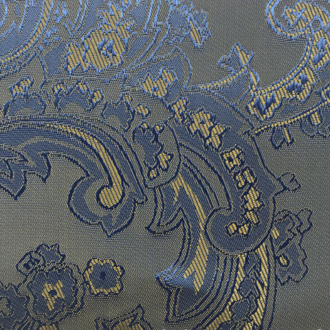 Blue with Gold Jacquard Woven Paisley design Lining