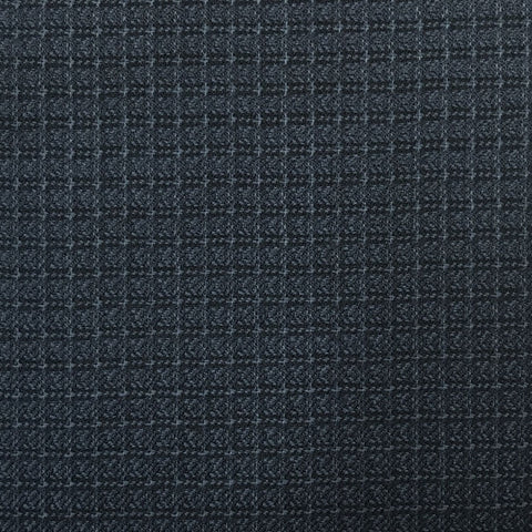 Navy & Black Block Check Weave Suiting Jacketing Fabric