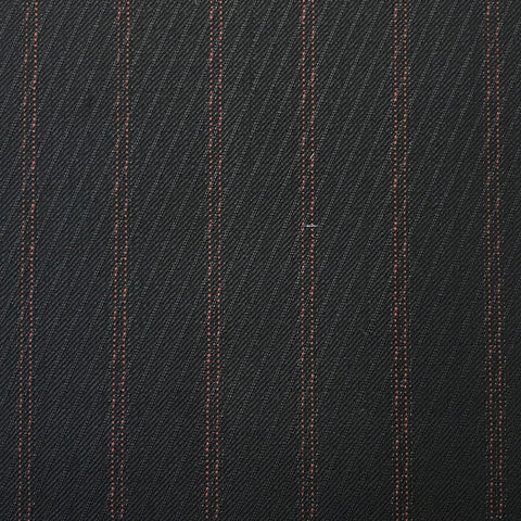 Navy With Fancy Double Red Pin Stripe Suiting Jacketing Fabric