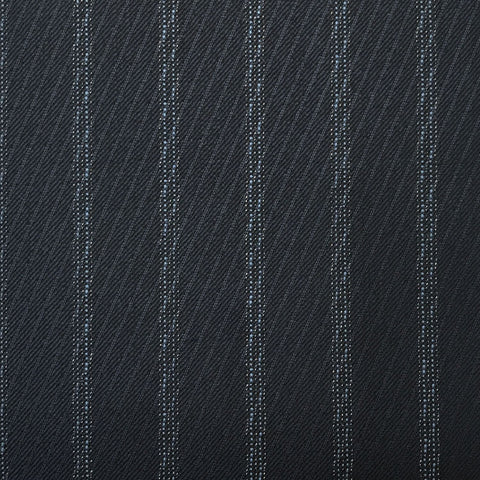 Navy With Fancy Double Blue Pin Stripe Suiting Jacketing Fabric