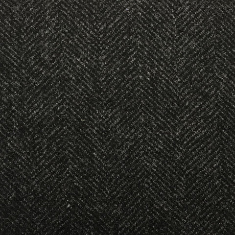 Charcoal Grey Herringbone Coating All Wool