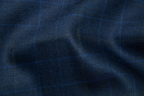 Royal Blue Tram Plaid With Gold & Blue Check
