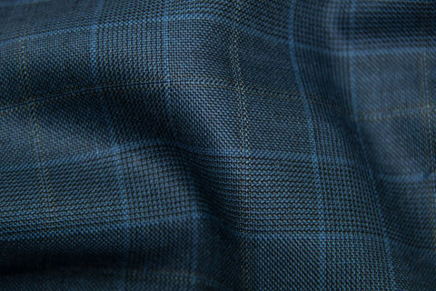 Light Navy Tram Plaid With Gold & Blue Check