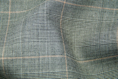 Light Grey Tram Plaid With Salmon Check