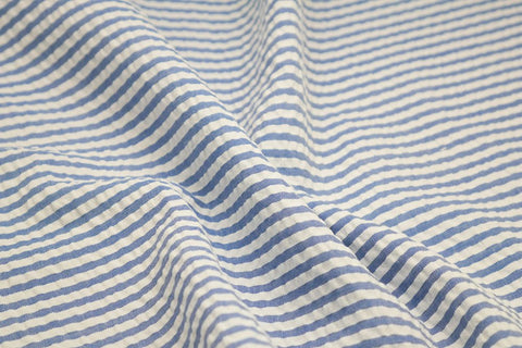 Dark Blue & White Stripe Seersucker Fabric