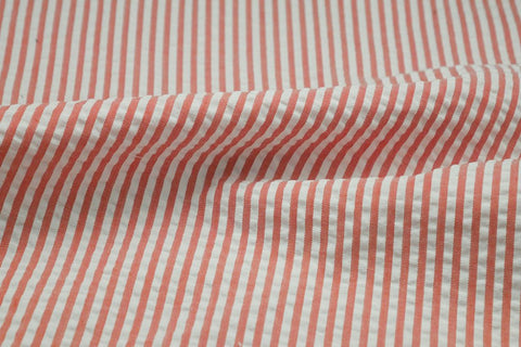 Orange & White Stripe Seersucker Fabric
