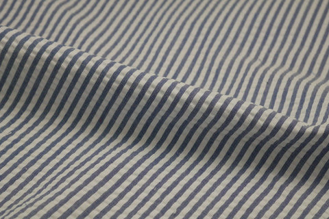 Blue & White Stripe Seersucker Fabric