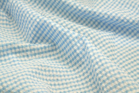 Light Blue & White Check Seersucker Fabric