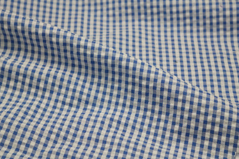 Dark Blue & White Check Seersucker Fabric
