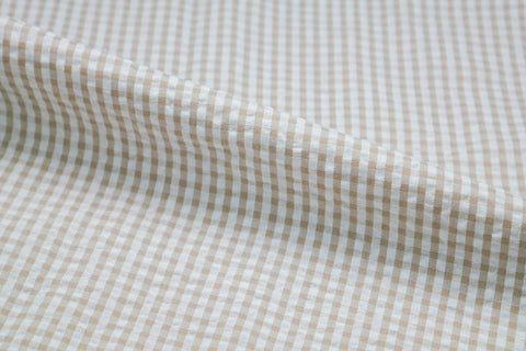 Tan & White Check Seersucker Fabric