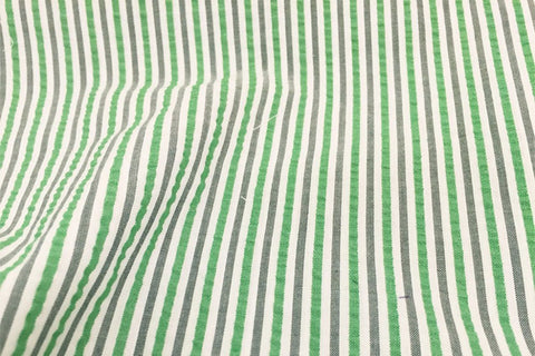 Green, Black & White Stripe Seersucker Fabric