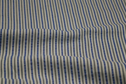 Blue, Black & White Stripe Seersucker Fabric