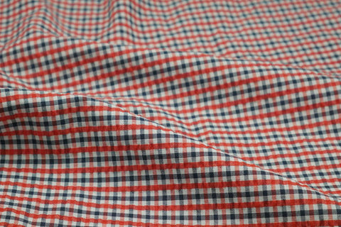 Red, Black & White Checked Seersucker Fabric