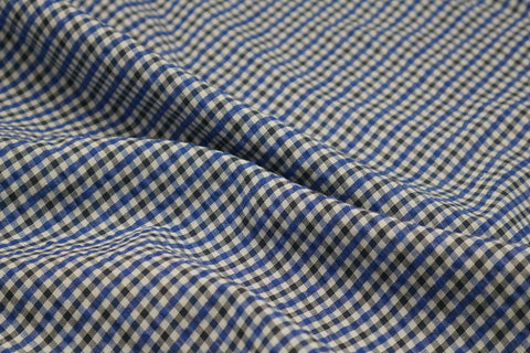 Blue, Black & White Checked Seersucker Fabric