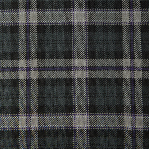 Black Scottish Caledonian Tartan Check 100% Wool