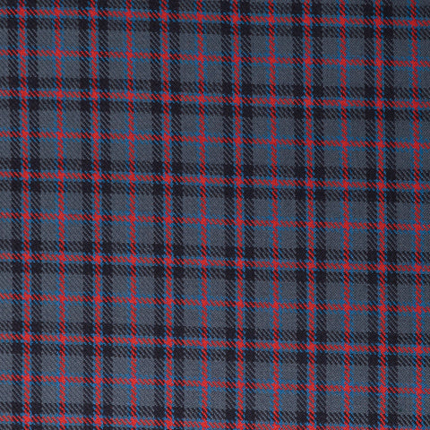 Blue Red Small Check Tharthan Tartan Check 65% Poly 35% Visc