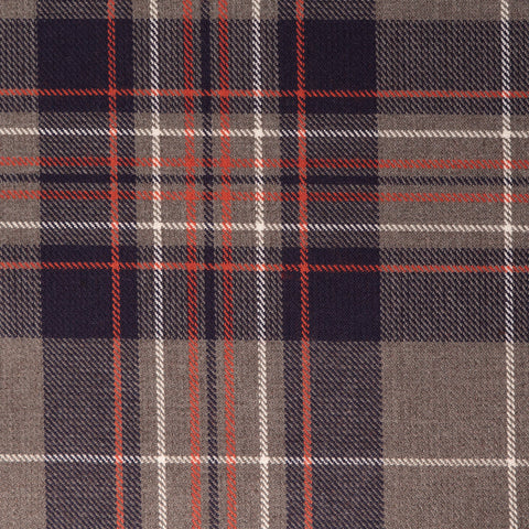 Grey Blue Tharthan Tartan Check 65% Poly 35% Visc