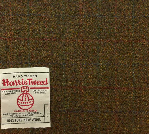 Moss Green/Brown With Red/Green/Blue/Orange Check Harris Tweed