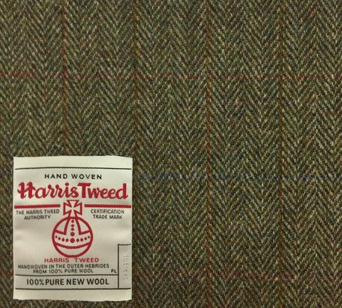 Moss Green Herringbone With Gold/Amber/Red/Blue Check Harris Tweed