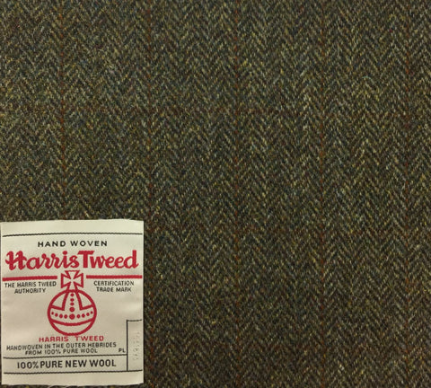 Fawn Herringbone With Rust/Brown Check Harris Tweed
