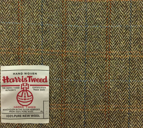 Cream/Brown Herringbone With Blue/Orange Check Harris Tweed
