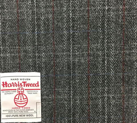 Dark Grey With Blue And Red Check Harris Tweed