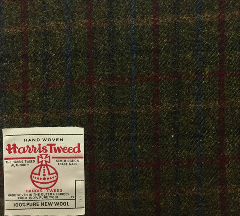 Dark Green With Blue/Red Check Harris Tweed