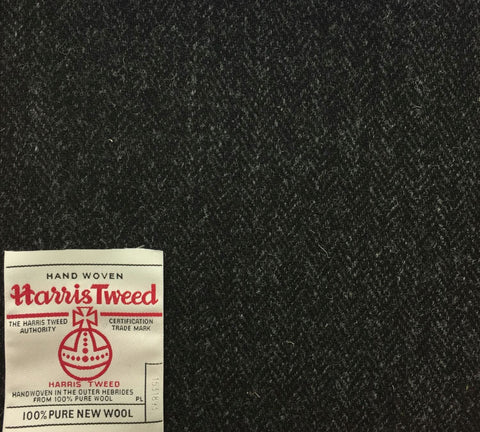 Charcoal Grey Herringbone Harris Tweed