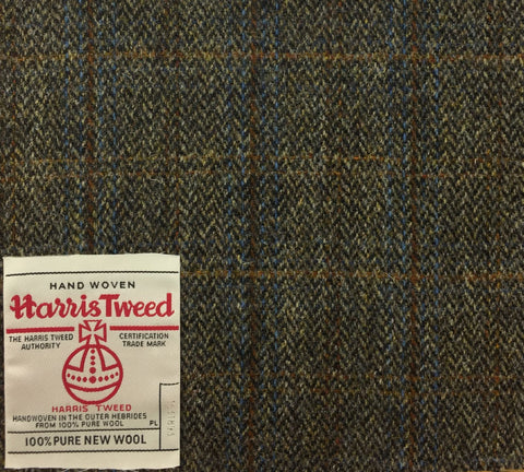 Fawn Herringbone With Blue/Rust Check Harris Tweed