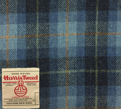 Aqua/Blue/Navy With Green And Orange Check Harris Tweed