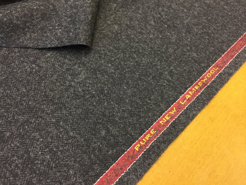 Charcoal Herringbone 100% Pure New Lambswool Jacketing