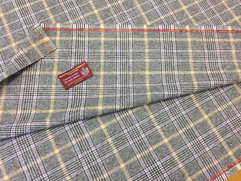 Grey Prince of wales with Purple and Yellow over check 100% Pure New Lambswool Jacketing