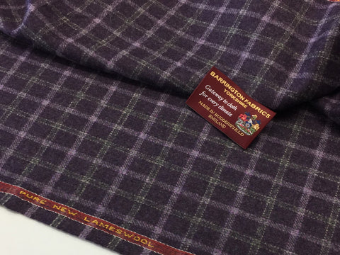 Purple check 100% Pure New Lambswool Jacketing