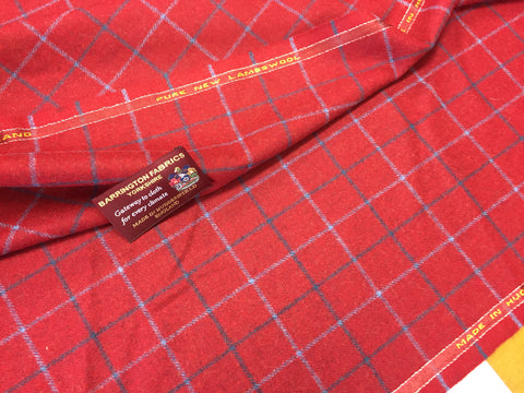 Red with Navy and baby blue over check 100% Pure New Lambswool Jacketing