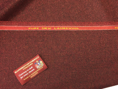 Burgundy with Black Herringbone 100% Pure New Lambswool Jacketing