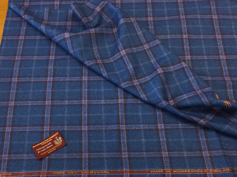 Blue with purple and blue check 100% Pure New Lambswool Jacketing