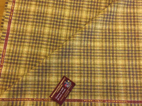 Mustardy / golden sandy with Purple check 100% Pure New Lambswool Jacketing