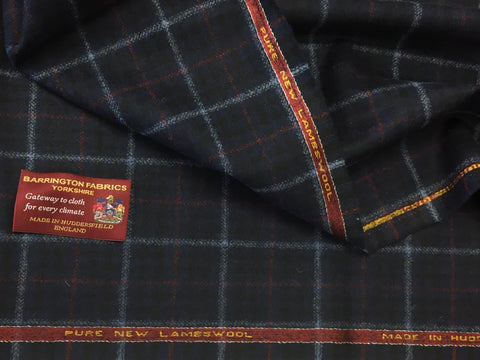 Navy Blue with red and baby blue Over check 100% Pure New Lambswool Jacketing