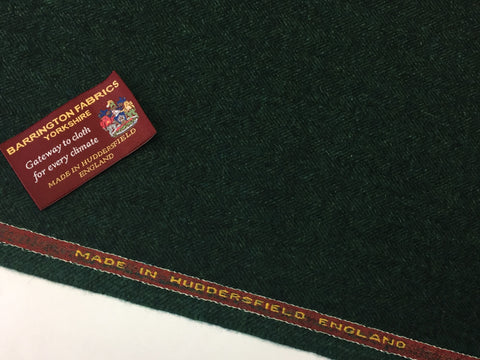 Green Herringbone 100% Pure New Lambswool Jacketing