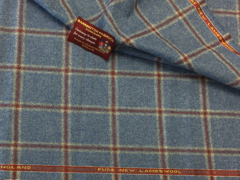Baby Blue with red windowpane check 100% Pure New Lambswool Jacketing