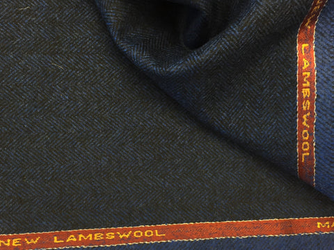 Electric Blue with Black herringbone 100% Pure New Lambswool Jacketing