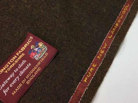 Brown herringbone 100% Pure New Lambswool Jacketing