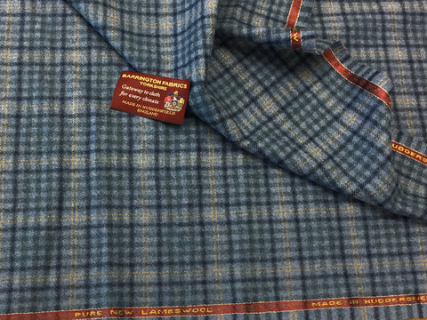 Light Blue with check 100% Pure New Lambswool Jacketing