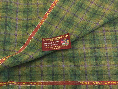 Green with Purple Check 100% Pure New Lambswool Jacketing