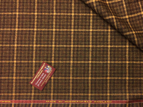 Brown with Gold over check 100% Pure New Lambswool Jacketing