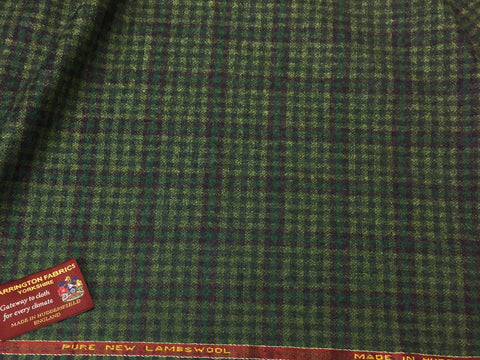 Green with over check 100% Pure New Lambswool Jacketing
