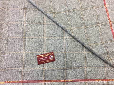 Grey with Over check 100% Pure New Lambswool Jacketing