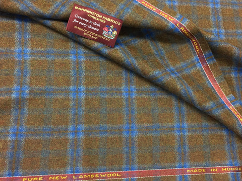 Brown with blue over check 100% Pure New Lambswool Jacketing