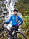 Mountain Biker girl wearing AK Star Hoodie