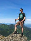Hike Alaska T-Shirt on a mountaintop